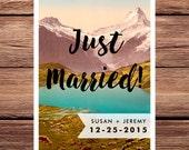 Elopement Announcement Elope Just Married We Eloped European Wedding Template Swiss Alps Colorado Mountains Rustic Vintage Digital Printable