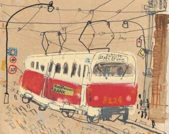 Prague Tram Watercolor Sketch, Czech Republic City Art Print, Line Drawing Pencil, Signed Home Decor, Building Architecture, Clare Caulfield
