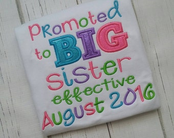Promoted to big sister Embroidered shirt