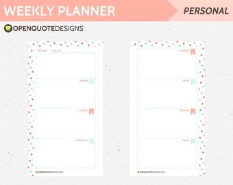 Filofax Personal Inserts, Printable Planner Pages, Daily Planner, Printable Weekly Planner, Personal Filofax Inserts