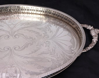 Large Falstaff Silver Plated Tray, Silver Oval Gallery Tray with Handles, Chashed Silver Drinks Tray, Silver Coffee Table Tray, Butlers Tray