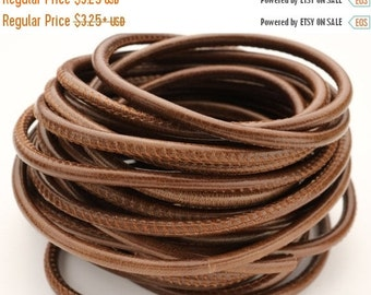 Up to 40% Off 5MM Round Wire Core Stitched Leather Cord - Cognac - 8""
