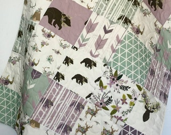 Baby Quilt, Baby Girl Quilt, Woodland Baby Quilt, Stag Baby Bedding, Bear Baby Bedding, Baby Girl Blanket, Crib Bedding, Baby Bedding