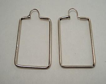 Rectangular Hoop Earrings-Sterling 925