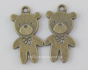 10pcs 13x25mm Antique Brass Cute Bear Charms Pendant