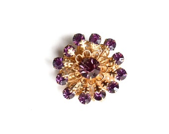 Atomic Brooch, Purple Brooch, Purple Pin, Vintage Brooch, Rhinestone Brooch, Vintage jewelry, Atomic Brooch, Circle Pin, Cluster Pin