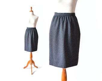 Charcoal Grey Skirt / 80s Wool Skirt / Grey Wool Skirt / High Waist Skirt / Gray Skirt / Women Bottom Skirt / Vintage Clothing Skirt