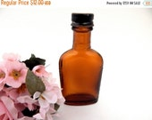 Amber Brown Antique Glass Bottle Metal Cap Vintage 1930's Medicine Bitters Liquor Shot Bottle