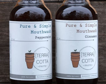 Pure and Simple Mouthwash - Naturally Freshens Breath & Prevents Cavities - Two Flavors