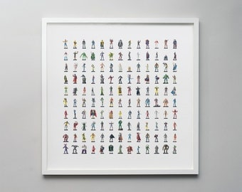 Mini Marvels - a photographic montage of super heroes in a graphic pattern