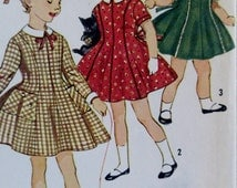 Vintage 1960s  Simplicity Pattern 3567 Girls One Piece  Dress Pattern Full Skirt and  Pockets Size 4 ** Esteam