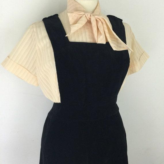 Vintage pinafore black velvet dress 1970s maxi dress UK 16 scooter girl Mod goth girl long macabre lolita