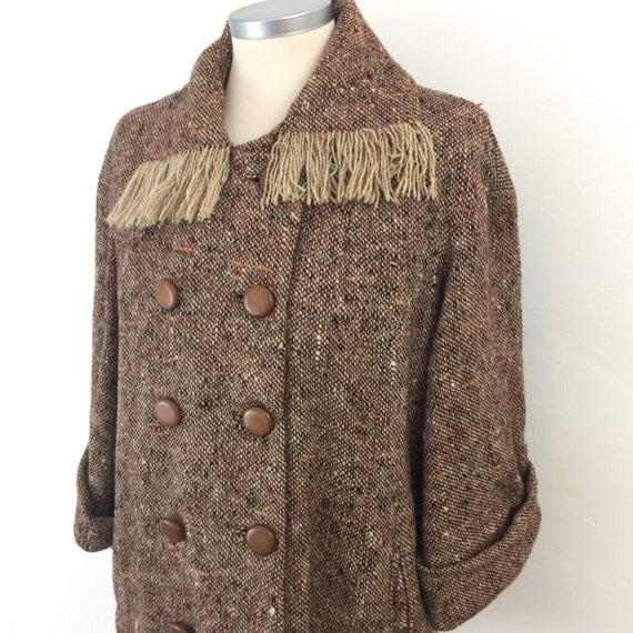 Vintage tweed jacket woven wool short coat fringed collar double breasted early 1950s Harrods UK 10 brown 50s 40s damaged