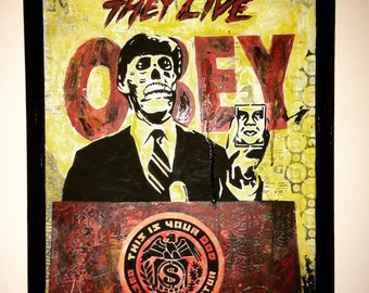 """Hand Painted  THEY LIVE Acrylic Painting on Stretched Canvas 12"""" X 16"""""""