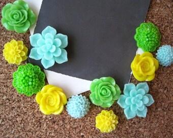 Flower Thumbtacks, 12 Aqua, Spring Green and Yellow Push Pins, Bulletin Board Tacks, Dorm Room Decor, Small Gifts, Housewarming Gift