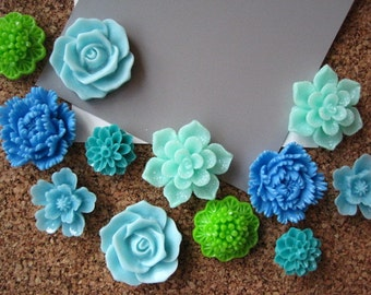 Thumbtack Set, 12 Flower Pushpins, Shades of Blue and Green, Office Supply, Bulletin Board Thumbtacks, Wedding Decor, Housewarming Gift