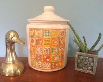 Retro Avon Award Patchwork Cookie Jar/ Canister, 10.5""