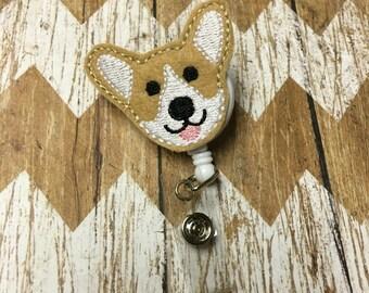 Corgi Puppy Badge Reel