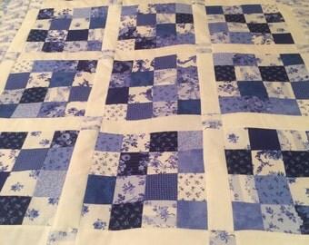 Reduced Blue Porcelain Quilt Top 34x42