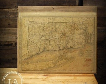 Vintage Rand McNally Connecticut and Florida Map Tack Systems Drawer Map