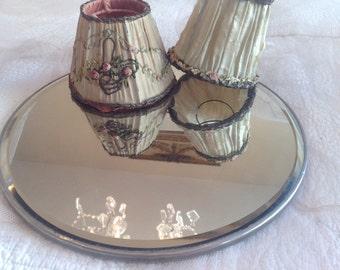 Gorgeous 12 inch round beveled antique boudoir plateau dresser mirror