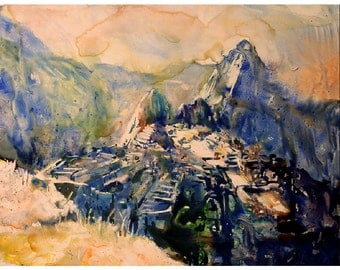 Watercolor painting ruins of Machu Picchu in the Sacred Valley, Peru- South America.  Watercolor art. Machu Picchu.  Watercolor prints.  Art