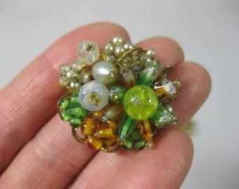 Beaded Clip Back Earrings, Japan, Tutti Fruitti Earrings, Vintage Clip Back Earrings, Gold Tone Clip Back Earrings