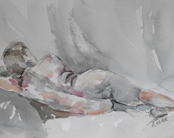 Original figure study, watercolour on paper, from life, female model,reclining back view, 9 X 12, Figure 49