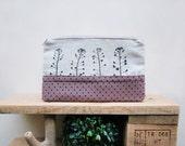 Cosmetics pouch, Hand printed linen, Zipper pouch
