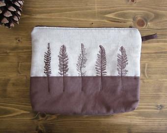 Linen cosmetics pouch, Hand Printed wild grass, Brown pouch, Big makeup organizer,  Cosmetic Bag, linen pouch