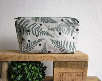 Cosmetics pouch, Handprinted linen,  Ferns and polka dots, Toiletry Storage pouch