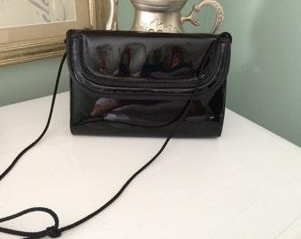 Vintage black patent leather shoulder bag