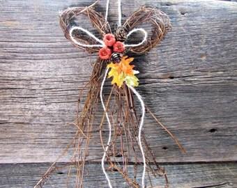 Fall Wreath for Front Door, Autumn Fall Leaf Wreath, Thanksgiving Wreath, Twig Grapevine BOW Wreath, Rustic Farmhouse Country Decor