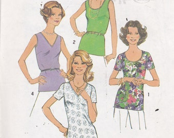 Simplicity 7911 Vintage Pattern Womens Pull Over Tops in 4 Variations Size 12 Bust 34