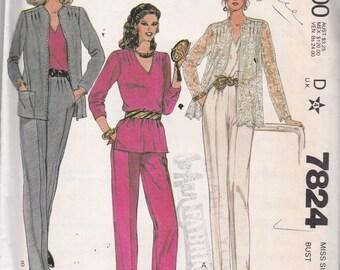 McCalls 7824 Vintage Pattern  Womens Jacket, Top, and Pants Size 12 bust 34 UNCUT