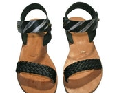 10% OFF Black-Natural Leather Sandals for Women & Men - Design 35R - Handmade by WalkaholicS