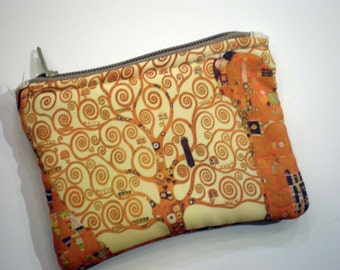 Klimt coin purse, Small zipper pouch, Card wallet, Padded, Gift idea, Gustav Klimt art, Tree of life