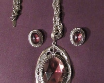 HOLIDAY SALE 50s 60s Whiting Davis Necklace Matching Earrings Set Purple and Silvertone Pendant
