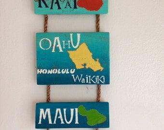 Wooden Hawaii Islands Colorful Wall Decor