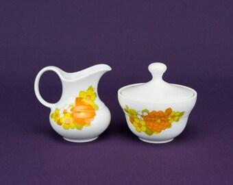 Elegant Vintage Porcelain Juice Seltmann CREAMER Modernist Orange Floral Serving Service 1970s German LS