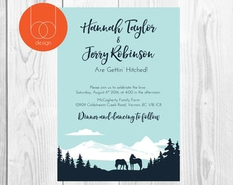 Rustic country Wedding invitation | Rustic Country | Mountain life | adventure wedding | Farm and country design | outdoors wedding | horse