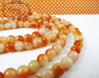 Orange Marmalade Dyed Jade Smooth Round Beads, jade beads, round beads, dyed jade, two tone, dyed gemstone beads - reynaredsupplies
