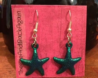 DarkGreen Starfish Earrings