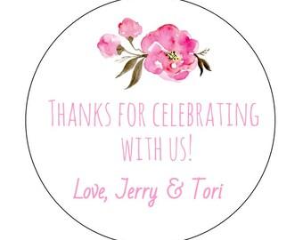 20 Peonies Celebrate Stickers, Bridal Shower, Pink Peonies, Couples Shower Labels, Flower Stickers, Bridal Shower Labels, Celebration