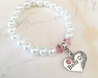 New baby girl bracelet , babys first pearls , new baby gift, baby girl gift, new baby girl gift, infant bracelet ,
