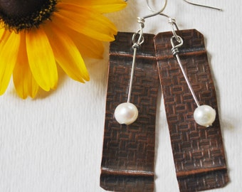 Copper and pearl earrings, hammered metal earrings, rustic earrings, artisan earrings