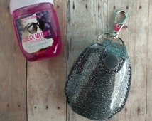 Pocket Bac Hand Sanitizer Holder- Gray Glitter Vinyl with Snap, Great for Backpacks, Bags & Purses, Quick Ship, Choose from 25 Colors