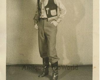 L. Cole as Pee Wee cowboy antique photo