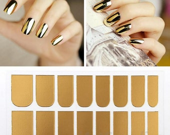 16 in 1 Nail Art DIY Decos Patch Foils Decal Stickers Tips Wraps Sheet Silver / Gold
