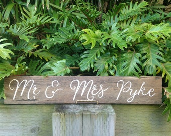 Custom Mr & Mrs Rustic Timber Hand Painted Wedding Sign